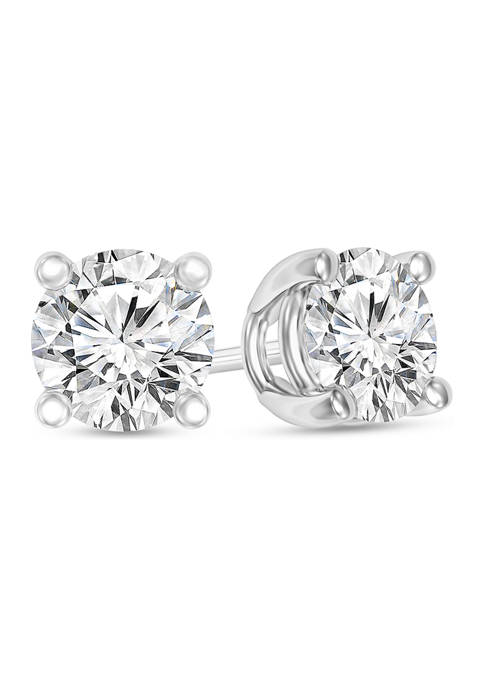 1/3 ct. t.w. Certified Diamond Solitaire Stud Earrings in 14K White Gold (I/SI2)
