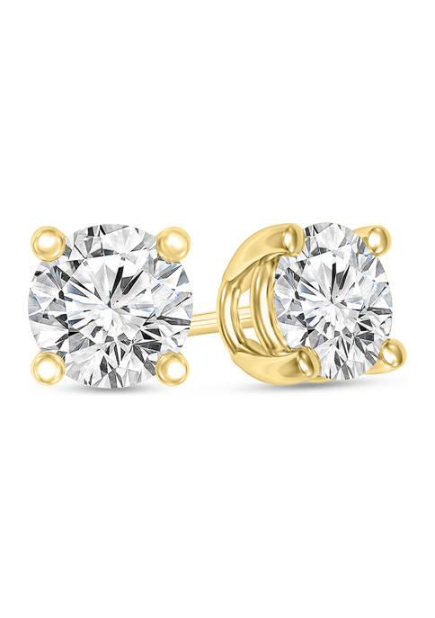 1/4 ct. t.w. Certified Diamond Solitaire Stud Earrings in 14K Gold ( I/VS2)