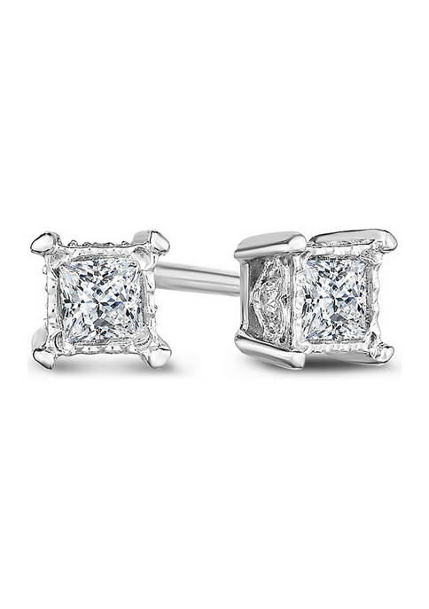 1/5 ct. t.w. Princess-Cut Diamond Solitaire Stud Earrings in 14K White Gold