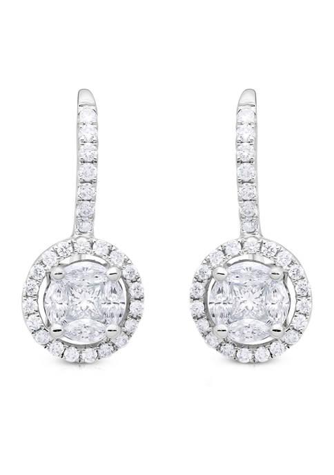 3/4 ct. t.w. Multi-Stone Diamond Halo Drop Earrings in 14K White Gold