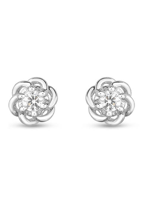 1/10 ct. t.w. Round Diamond Knot Stud Earrings in 10K White Gold