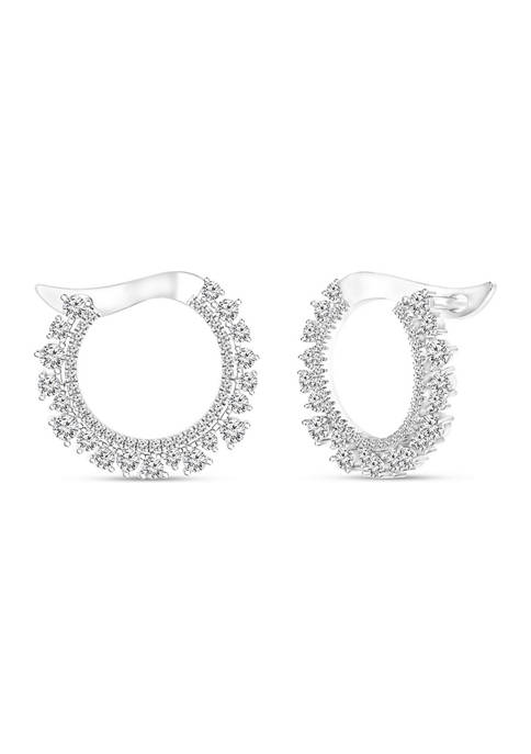 Diamour 1.33 ct. t.w. Round Diamond Hoop Earrings