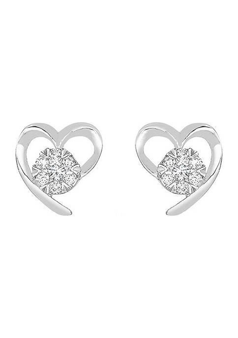 Diamour 1/10 ct. t.w Diamond Heart Stud Earrings