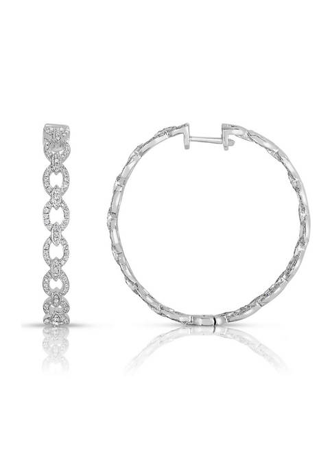 Diamour 1 ct. t.w. Round-Cut Diamond Link Hoop