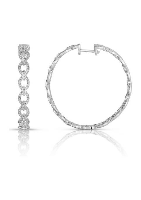 1 ct. t.w. Round-Cut Diamond Link Hoop Earrings in Sterling Silver