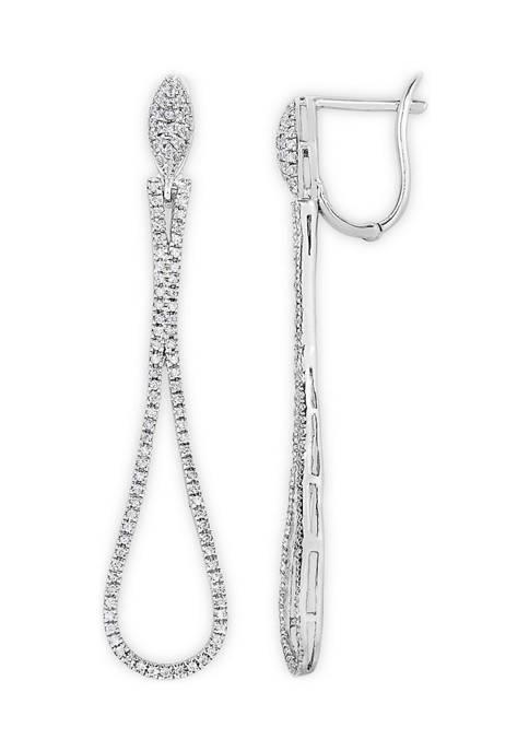 1/2 ct. t.w. Diamond Open Teardrop Dangle Earrings in Sterling Silver