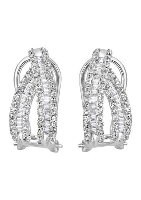 Diamour 1/2 ct. t.w. Diamond Swoop Hoop Earrings