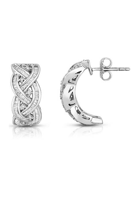 3/4 ct. t.w. Round and Baguette-Cut Diamond Woven Hoop Earrings in 14K White Gold
