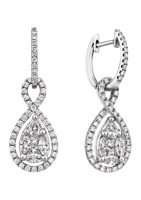 1.38 ct. t.w. Multi-Shape Diamond Loop Drop Earrings
