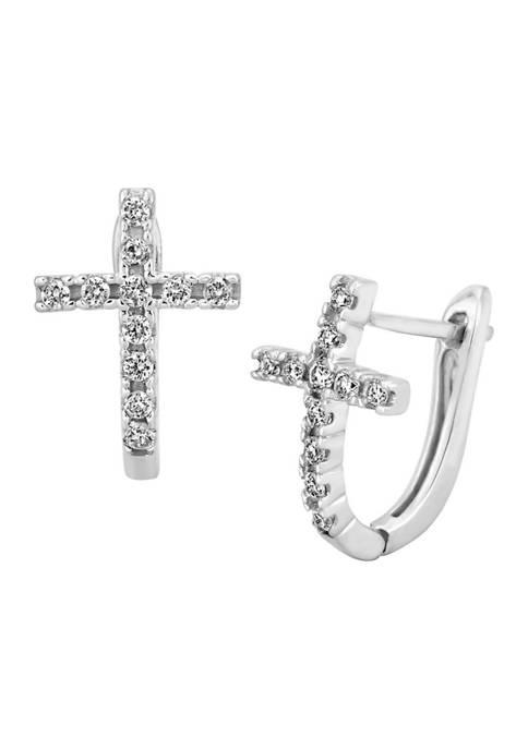 1/4 ct. t.w. Diamond Cross Hoop Earrings in Sterling Silver