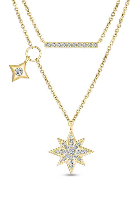 1/4 ct. t.w. Diamond Eight Point Star and Bar Double Strand Necklace in 10K Gold