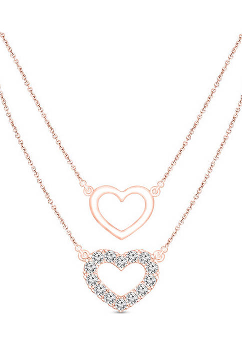 1/5 ct. t.w. Diamond Double Heart Outline Double Strand Layered Necklace in 10K Rose Gold