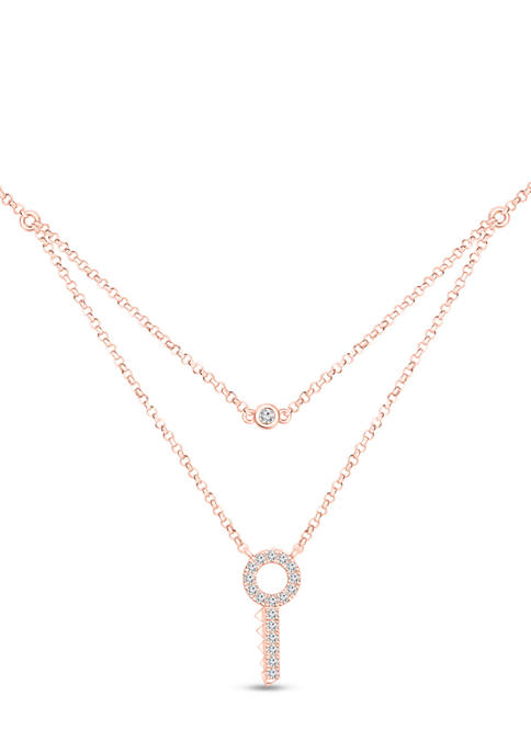 1/5 ct. t.w. Diamond Key Double Strand Layered Necklace in 10K Rose Gold