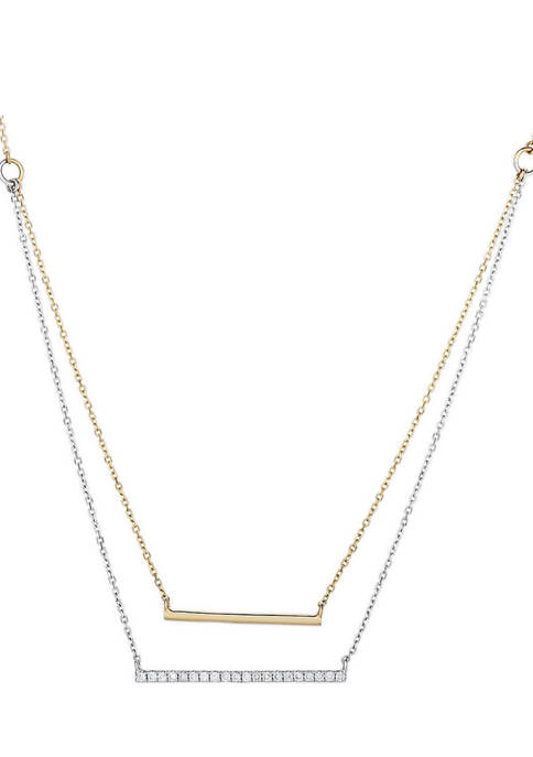 Diamour 1/6 ct. t.w. Diamond Double Layer Bar