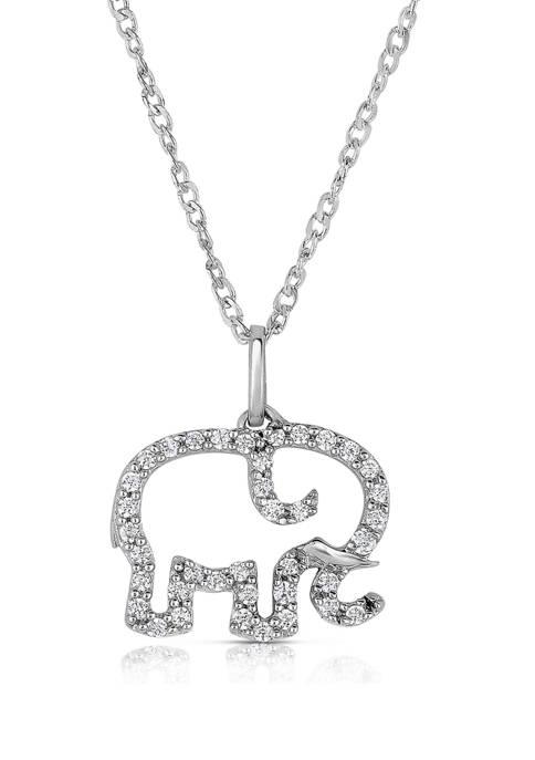 Diamour 1/10 ct. t.w. Diamond Outline Elephant Pendant