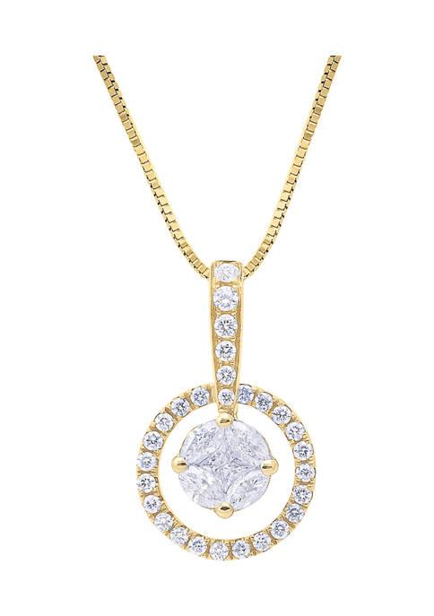 1/2 ct. t.w. Diamond Cluster Circle Pendant in 14K Yellow Gold
