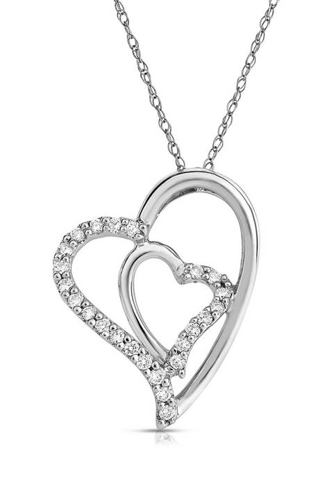 1/5 ct. t.w. Round-Cut Diamond Double Heart Necklace in 10K White Gold