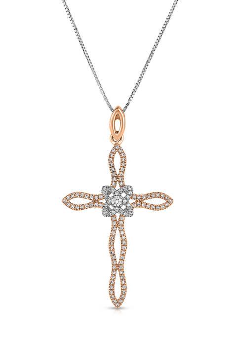 3/8 ct. t.w. Round-Cut Diamond Cross Pendant in 10K Two-Tone Gold