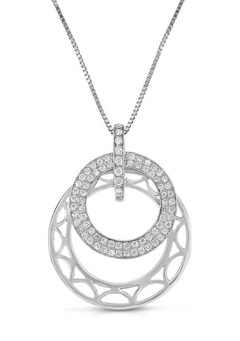 1/4 ct. t.w. Diamond Layered Circle Pendant in 10K White Gold