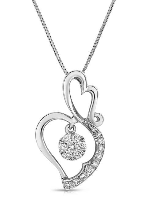Diamour 1/5 ct. t.w. Diamond Composite Double Heart