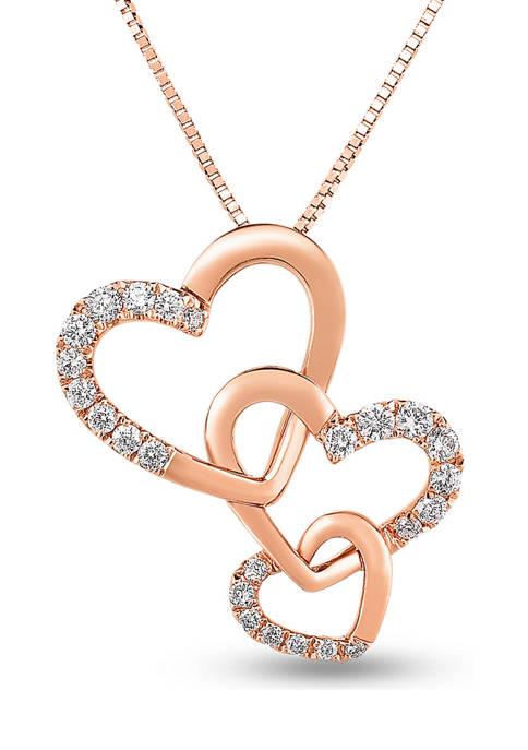 Diamour 1/5 ct. t.w. Diamond Triple Heart Pendant