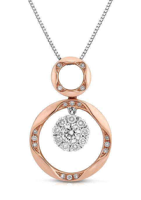 Diamour 1/3 ct. t.w. Round-Cut Diamond Double Circle