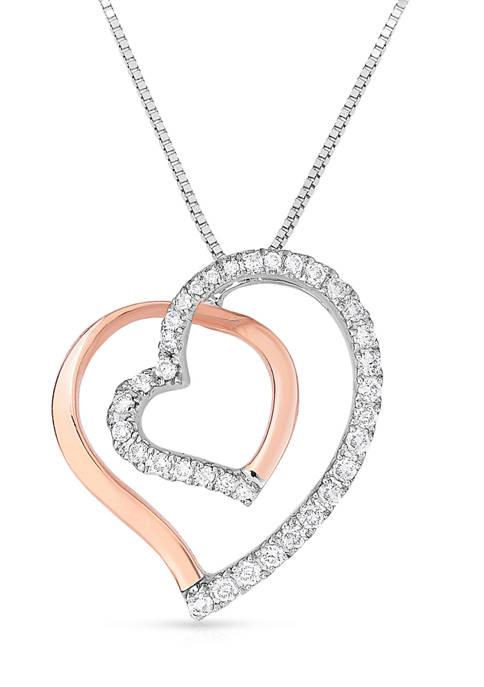 Diamour 1/5 ct. t.w. Diamond Tilted Double Heart