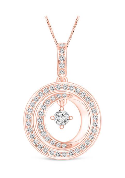 Diamour 1/4 ct. t.w. Diamond Double Circle Drop