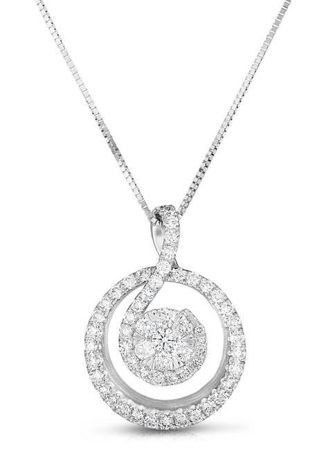 Diamour 1/2 ct. t.w. Round-Cut Diamond Swirl Circle