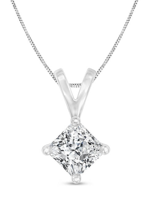 1/4 ct. t.w. Certified Princess Cut Diamond Solitaire Pendant in 14K Gold (I/SI2)