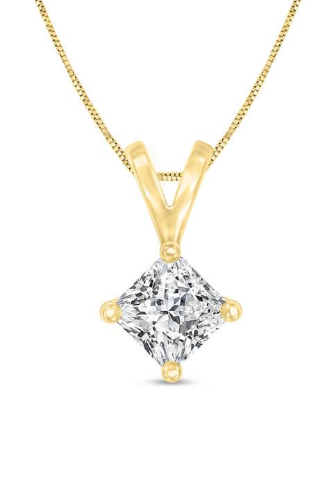 1/4 ct. t.w. Certified Princess Cut Diamond Solitaire Pendant in 14K Gold (I/VS2)