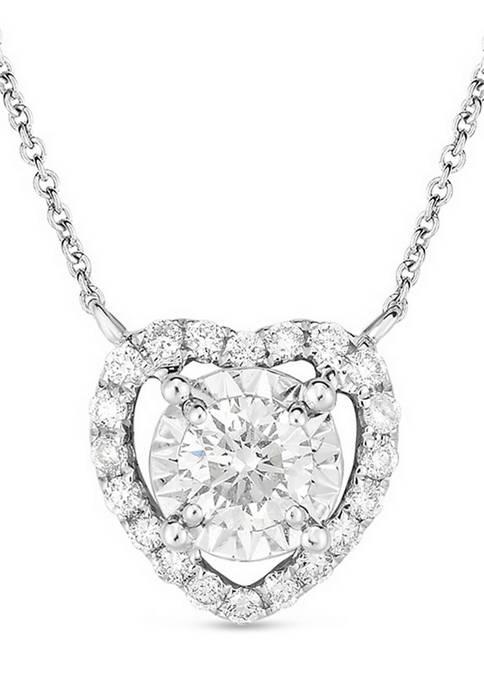 1/3 ct. t.w. Diamond Heart Frame Pendant in 10K White Gold