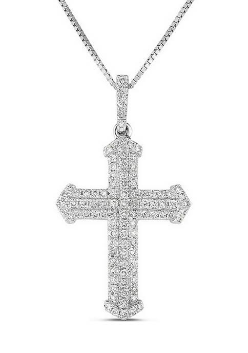 Diamour 1/3 ct. t.w. Diamond Multi-Row Cross Pendant