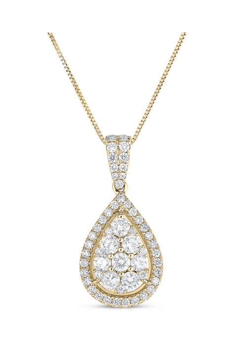 1 ct. t.w. Composite Diamond Teardrop Frame Pendant in 14K Yellow Gold