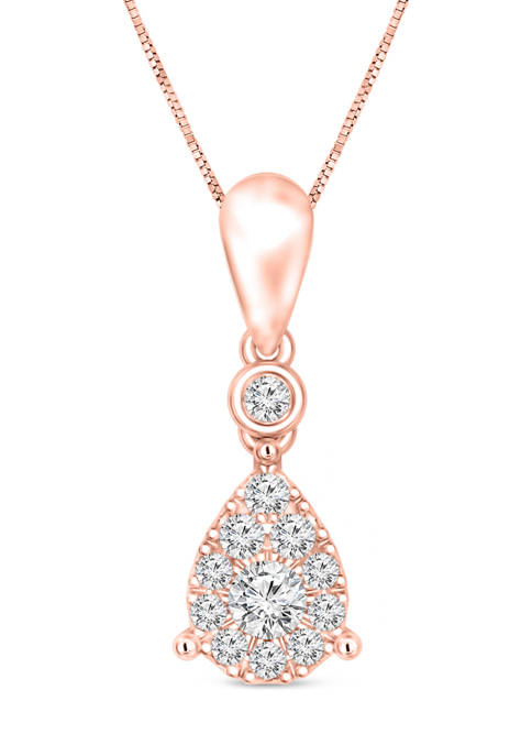 Diamour 1/4 ct. t.w. Diamond Pear-Shaped Frame Pendant
