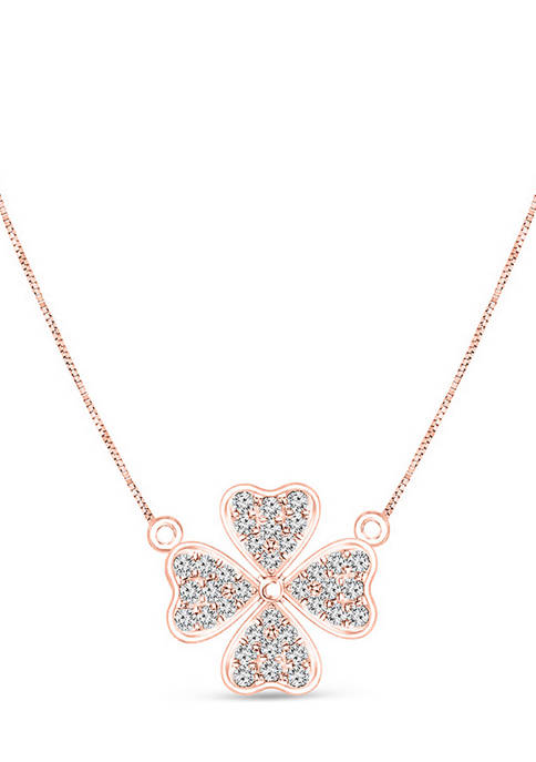 1/8 ct. t.w. Diamond Heart-Shaped Four Leaf Clover Necklace in 10K Rose Gold