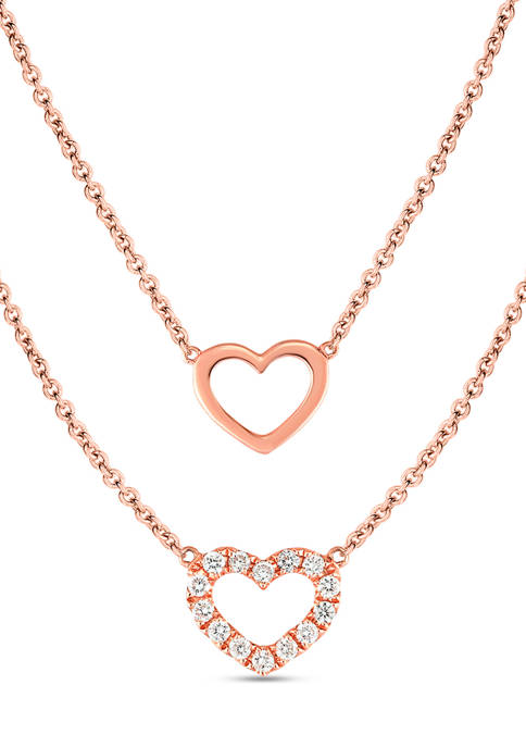 Diamour 1/5 ct. t.w. Diamond Heart Layered Necklace