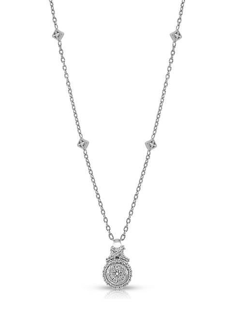 Diamour 1/4 ct. t.w. Round-cut Diamond Station Necklace