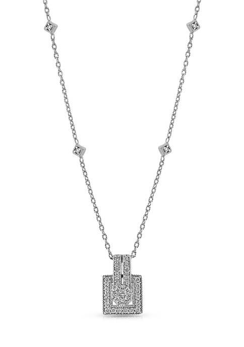 Diamour 1/4 ct. t.w. Round-cut Diamond Square Frame
