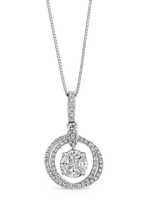 3/4 ct. t.w. Diamond Circle Pendant in 14K White Gold