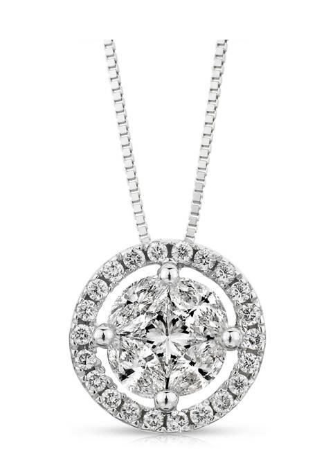 5/8 ct. t.w. Composite Diamond Circle Frame Pendant in 14K White Gold