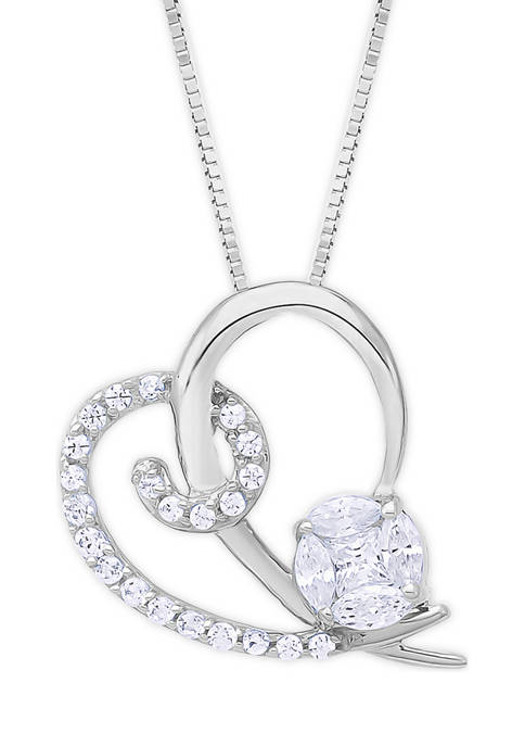 1/4 ct. t.w. Diamond Rose Heart Necklace in 10K White Gold