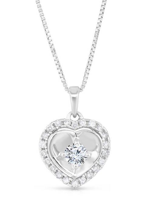 Diamour 1/4 ct. t.w. Diamond Framed Polished Heart