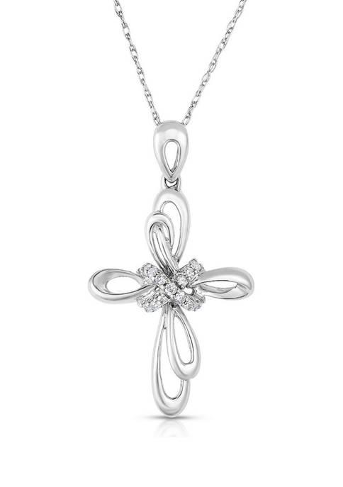 Diamour 1/10 ct. t.w. Round-Cut Diamond Cross Necklace
