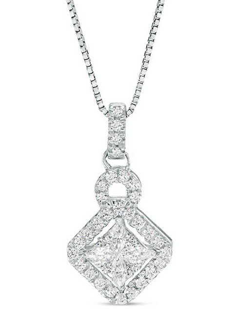Diamour 1/4 ct. t.w. Composite Diamond Tilted Square