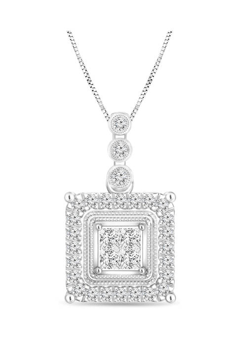 Diamour 1/5 ct. t.w. Quad Princess-Cut Diamond Frame