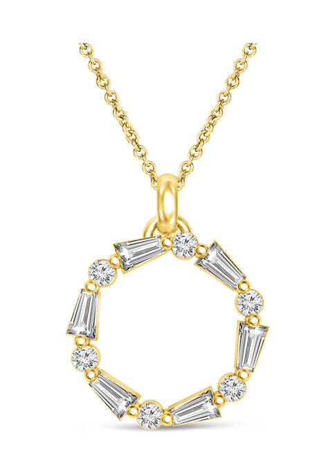 1/4 ct. t.w. Round and Baquette-cut Diamond Circle Pendant in 10K Yellow Gold