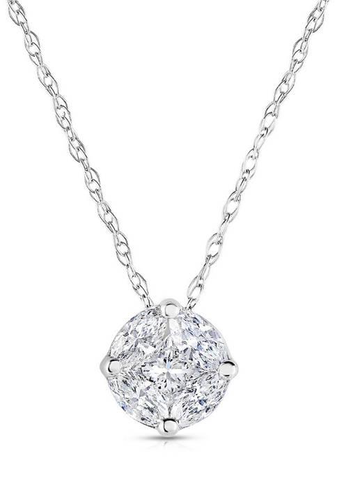 Diamour 1/8 ct. t.w. Marquis and Princess-Cut Diamond