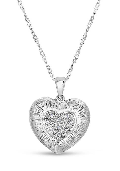 Diamour 1/10 ct. t.w. Diamond Cluster Heart Necklace