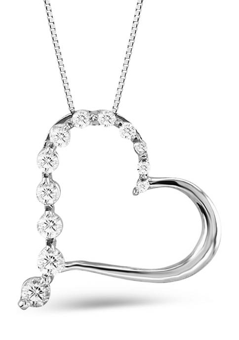 Diamour 1/2 ct. t.w. Journey Diamond Tilted Heart